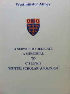 Service booklet for C S Lewis' Memorial