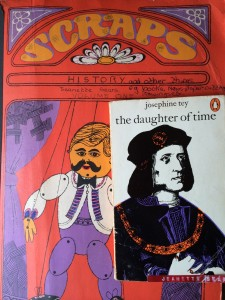 1970 orange and purple Scrapbbook and Josephine Tey novel