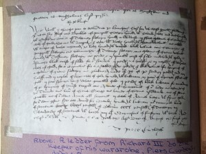 Richard's letter to Master of Wardrobe