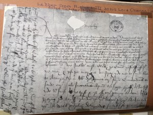Richard's letter to Lord Chancellor with own handwriting round the edge