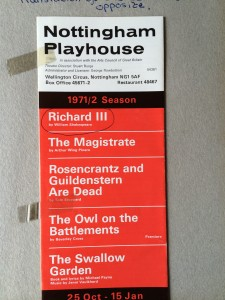 Nottingham Playhouse producing Shakespeare's 'Richard III' in 1971