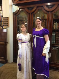 Librarians in regency costume for 200th anniversary